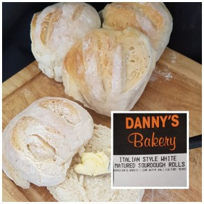 Dannys Bakery Italian Style While Matured Sourdough Rolls 6 pks